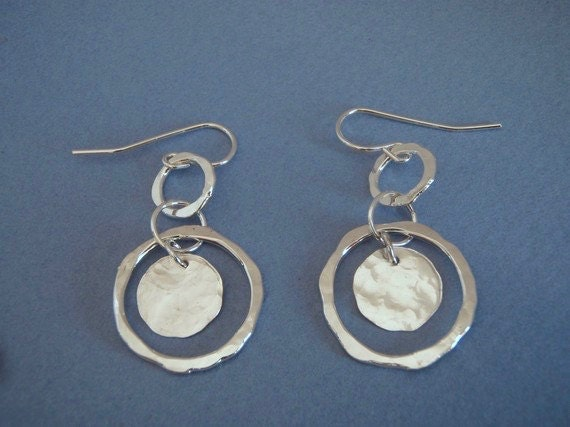 Hammered Silver Halo Earrings