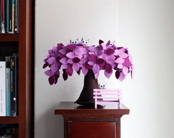 Purple Weeping willow-Felt Tree-Home decor-Soft sculpture