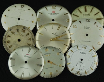 Vintage Antique Watch Dials Steampunk  Faces Parts Altered Art Industrial O 10