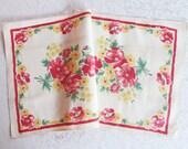 Vintage Red Tea Towel Kitchen Linens Printed Floral Dish Cloth Dishcloth Hand Towel Table Runner Mid Century Retro Unused Vintage Textiles