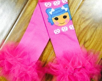 "Lala Loopys Pink Ruffle Tutu Leg Warmers - Fits girls 6m to 3T approx 6"" long - Perfect for Birthday, Costume, Photo Prop"
