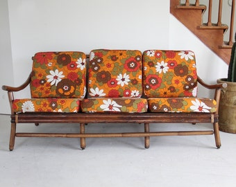 Rattan Loveseat w/ Cotton Upholstered Flower Cushions