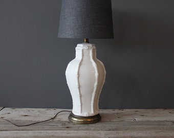 Tall White Faux Bamboo Lamp