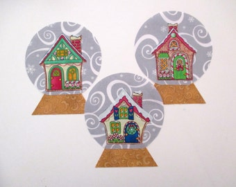 3 Snow Globe Gingerbread Houses Iron On Appliques 6""