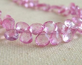 Pink Topaz Gemstone Briolette Mystic Faceted Heart 6mm 16 beads