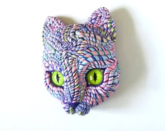 Purple Cosmic Cat Sculpture