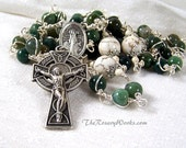 Reserved Listing for Wilso 415   St Malachy Rosary Bridget Irish Celtic Cross St Patrick Green Fancy Agate Wire Wrapped Unbreakable
