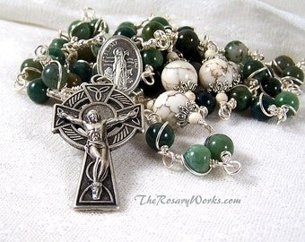St Brigid Rosary Beads Irish Celtic Cross Bridget St Patrick Green Fancy Agate White Wire Wrapped Unbreakable Prayer Beads