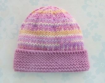 PREEMIE HAT - to fit 2.5 to 5.5 lb baby girl - NICU Kangaroo Care - baby yarn in shades of pink, white and yellow with a pink brim