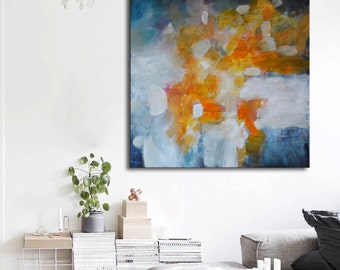 Blue and gold painting on canvas, abstract art, orange aqua blue painting , lobby art, office painting, living room art, abstract sunset