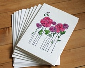 Reserved for Joe - Set of 9 Watercolor Greeting Cards, Flowers, Rose, Floral, Stamped, Handmade, Blank Greeting Card, Note Card, Art Card