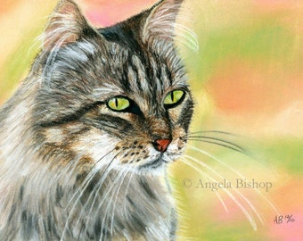 Cat Painting Print, In The Garden, Cat Print, Art Print, Cat, Pet, Looking Out, 5 x 7, Realism, Giclee, Pastel, Painting, Fine Art