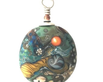 Summer Sale Lamp Work Glass Bead Pendant Green Matrix by Kate Drew-Wilkinson