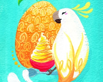 Pineapple Paradise Original Painting/ Gouache Illustration/ Disney/ Original Art