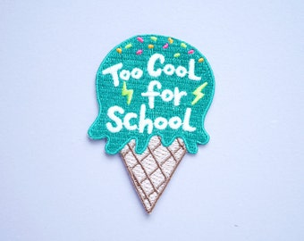 Too Cool For School - Glow in the Dark Ice Cream Iron On Patch