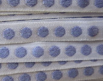 Italy 2 Yards Vintage Cotton Edging Embroidered Folkloric Fabric Sewing Trim Polka Dots  IT 35