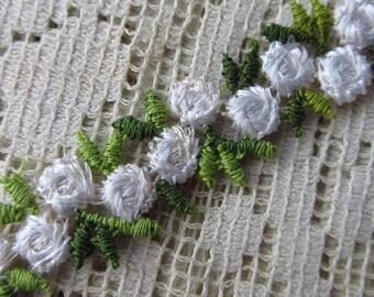 2 Yards White Rosebud Venise Lace Edging Trim Sewing
