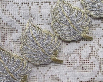 """Fancy 1 Yard Leaf Embroidered Embroidery Trim 2"""" Iron On Or Sew Metallic Gold & Silver Leaves"""