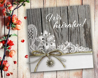 Invitation cards wedding lace shabby
