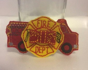 Firetruck Bow 3D Felt Feltie Hairclip Clip Clippie Girls Toddler Hairbow Badge Fire Truck Fire Marshall