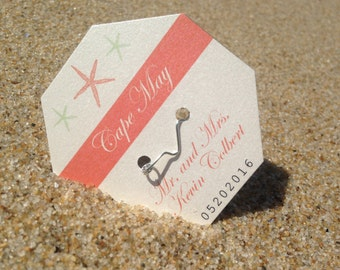 Beach Badge Wedding Place Cards Deposit