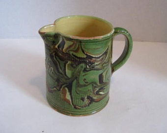 Vintage Green Swirl Red Clay Lullin Pottery Pitcher