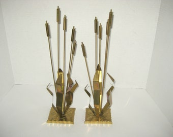 Vintage Mid Century Brass Cattails Sculpture Home Decor Table Decor Set of Two