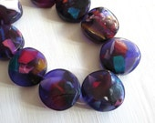 X large chunky coin Resin Beads,  purple Confetti Resin disc multicolored  speckled beads from indonesia  - 2 pcs  / 45  mm - 5A15-2