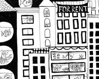 B/W #26 for 30/30 - Original Pen and Ink: Renters