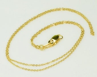 18K SOLID Yellow GOLD Petite Cable Chain Necklace 18 Inch Length