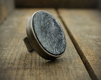 Hematite Worry Stone Ring - MADE TO ORDER