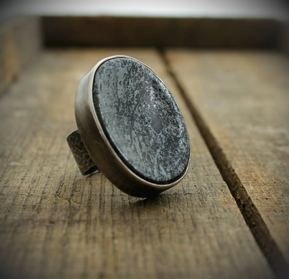 READY TO SHIP - Hematite Worry Stone Ring - Size 8.5