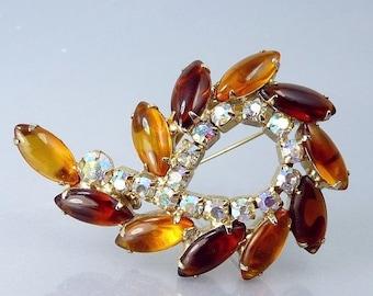 Vintage Amber Rhinestone Brooch 1950s Jewelry