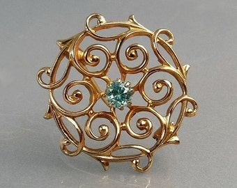 Victorian Revival Gold Scroll Pin Brooch