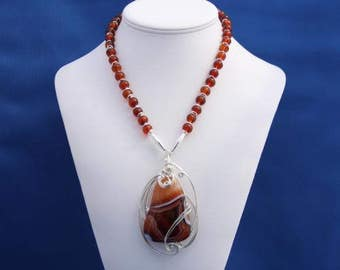 Amber Necklace, Wire-Wrapped Agate Pendant, Amber Jewelry, Adult Amber Necklace, Autumn Jewelry, Agate Jewelry, Necklace for Fall, Unique