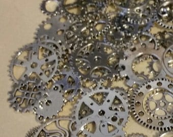 40g Antiqued Silver GEARS ONLY 1/2-1 Inch Medium to Large NeW CLoCK Watch Style STEAMPUNK Wheels Cogs Parts Pieces