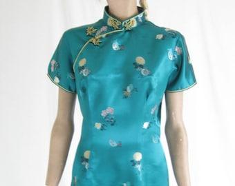 Vintage 60's Cheongsam Green Satin Dress