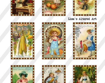 Digital Collage Sheet  Thanksgiving Postcard Images (Sheet no. O254) Instant Download