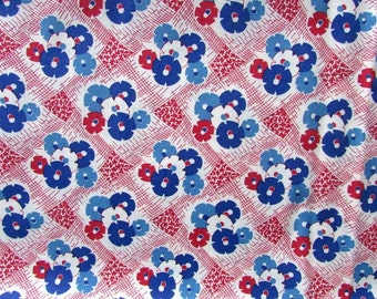 1 Yard of Red, White, Blue Everything but the Kitchen Sink Cotton Fabric, Quilts, Sewing, Feed sack Fabric  Look