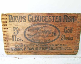 Antique 1920 Vintage  Wooden Advertising Davis Gloucester Fish Cod Steaks Store Box w Fish Image, Gloucester, MA, Kitchen Decor, Shelf  Box