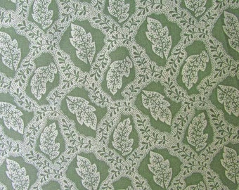 Cotton Fabric,  Green and White Small Woodsy Leaf Pattern Cotton  Designer Fabric, Quilts, Sewing, Summer Retreat