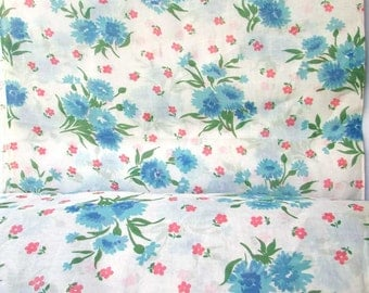 8 Plus Yards of Vintage 1950's Unused Floral Organza Semi Sheer Curtain, Decor Fabric, Blue Flowers on Red and White, Mid Century Fabric