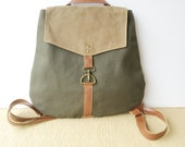 backpack • industrial - waxed canvas backpack  • industrial dark olive canvas - tan waxed canvas • adventure back pack • scout