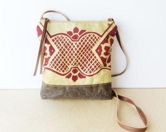 weekdayer • every day crossbody bag - geometric print • metallic gold geometric floral print - ruby red canvas - waxed cavnas • talavera