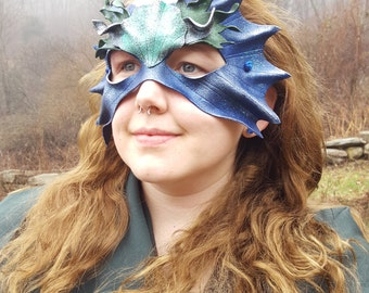 Leather Mer Mask in Blue & Green