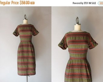 STOREWIDE SALE 50s Dress / Vintage 1950s Wiggle Dress / 50s Autumn Pallet Woven Wiggle Dress