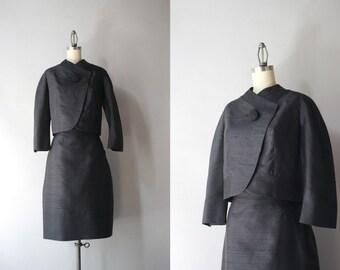 1960s Suit / Vintage 60s Black Silk Shantung Suit / 60s Mod Asymmetrical Black Suit Set by Boykoff