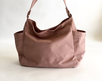 Pale Pink hobo diaper bag  , Vegan cross body messenger  bag , Women shoulder bag,  Mom handbag , Gift for her /  SALE 30% - no.101 RENEE