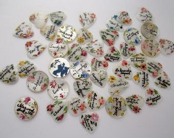 destash - vintage hand painted MOP mother of pearl shell cabochons w flowers and tourist locations souvenir jewelry supplies