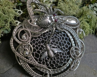 Gothic Steampunk Spider and the Fly Part 4 Pin Pendant Brooch